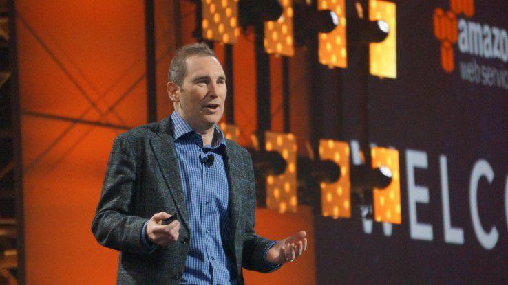 Amazon-CEO Andy Jassy wirbt auf auf re:Invent 2016 in Las Vegas um Unternehmenskunden.