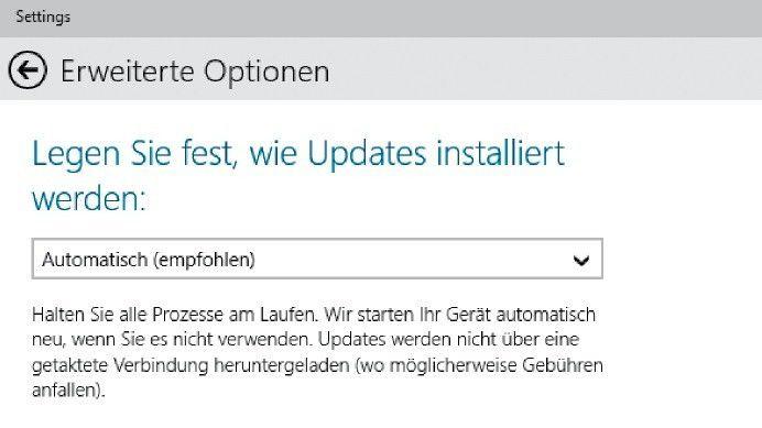 Dank der voreingestellten automatischen Updates lädt Windows 10 TP ohne Zutun des Anwenders alle wichtigen System-Updates herunter und installiert sie.