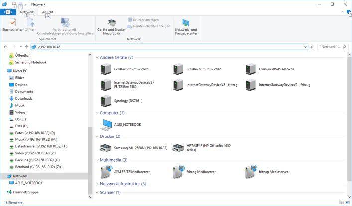 Der freigegebene NAS-Speicher lässt sich auch als normles Netzwerklaufwerk ins System einbinden..