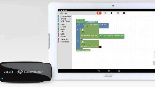 Eine Toolbox erlaubt die visuelle Erstellung erster IoT-Anwendungen.