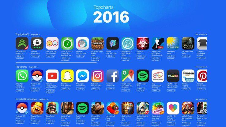 Die Topcharts 2016 des iTunes App Store