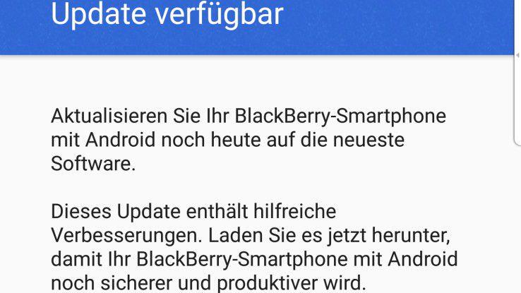 Dezember-Update: Blackberry verspricht (und liefert) für das DTEK60 regelmäßige und unverzügliche Sicherheits-Updates.