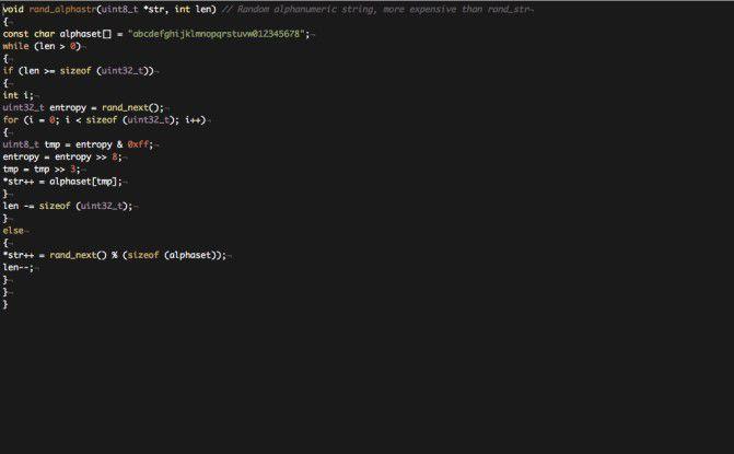 Quellcode von Mirari zur Generierung der Zufallszahl für die Subdomain, so dass man keine statischen Filter-Regeln setzen kann.