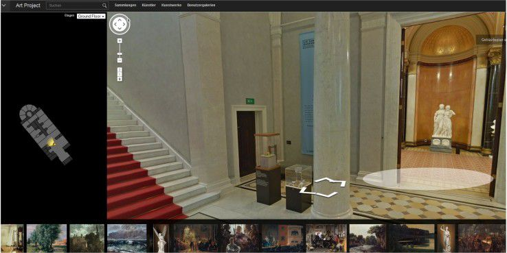 Das Google Art Projekt ermöglicht im Browser kostenlose virtuelle Rundgänge durch Museen in aller Welt, so auch durch die Alte Nationalgalerie in Berlin.