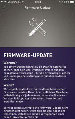 (Noch) Ungewohnt: Für die Kaffeemaschine steht ein Firmware-Update bereit.