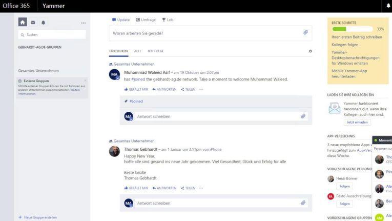 Yammer ordnet Gruppenunterhaltungen ähnlich wie Feeds in Facebook an.
