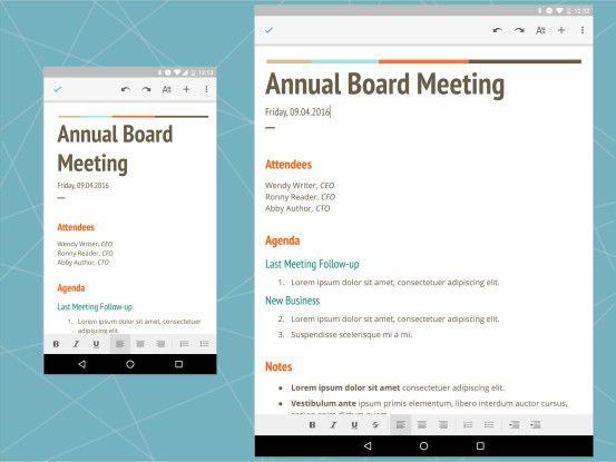 Textverarbeitung mit Google Docs auf Android-Smartphone und -Tablet