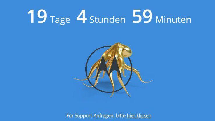 Was bedeuten die Krake und der Countdown (bis zum MWC-Start) auf Motorola.de