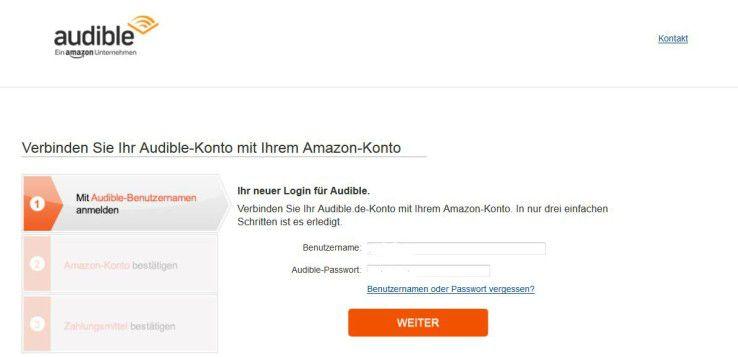 Audible bietet in den Kondodaten die Möglichkeit an, das Audible- mit dem Amazon-Konto zu verbinden.
