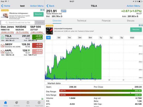 Mit Stocks Tracker haben Sie die aktuellen Aktienkurse immer im Blick.