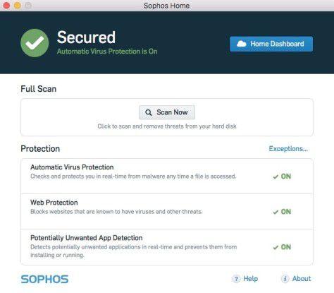 Sophos Home ist ein guter kostenloser Scanner, der aber bei Adware und PC-Malware Schwächen zeigt.