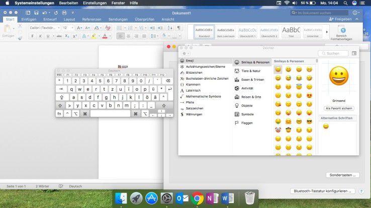 macOS bietet verschiedene Wege, um Sonderzeichen einzublenden