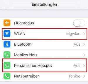 Hier geht es zum Hotspot-Menü auf dem iPhone. WLAN muss dafür auf dem iPhone aktiviert sein.