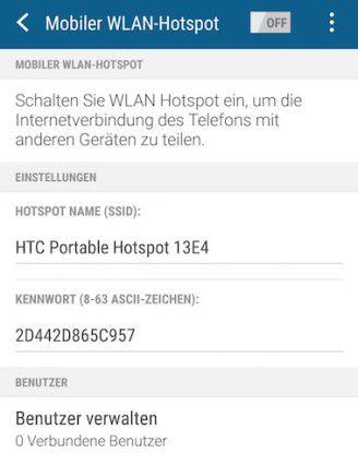 Hier können Sie den Smartphone-Hotspot auf dem Androiden konfigurieren.