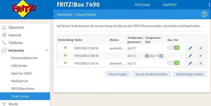 Zwei Zwischenstecker und ein Thermostat sind an unserer Fritzbox angemeldet.