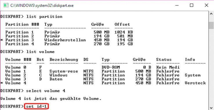 Versteckte Partitionen lassen sich mit jedem beliebigen Partitionierungsprogramm oder dem in Windows integrierten Befehlszeilen-Tool Diskpart (im Bild) einfach wieder aktivieren und anzeigen.