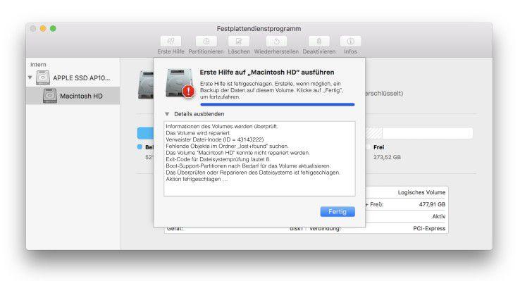 Der harte Absturz eines macOS-Rechners hinterlässt oft ein irreparabeles HFS+ Dateisystem.