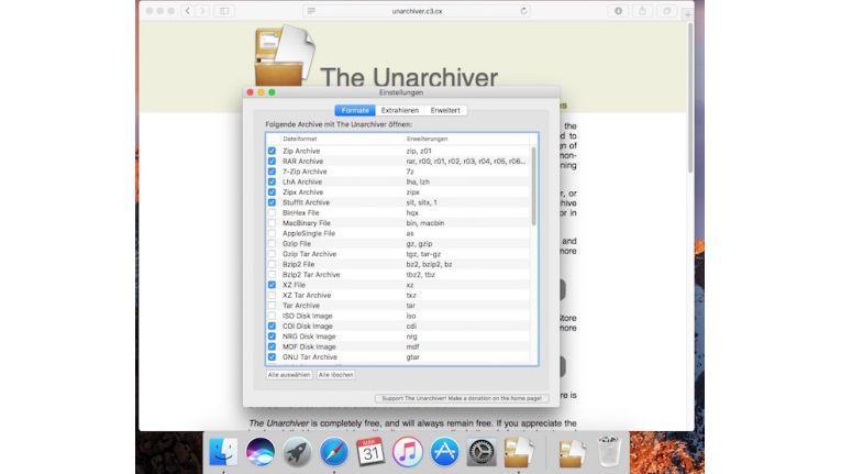 Unarchiver kann eine Vielzahl von Archiven extrahieren.