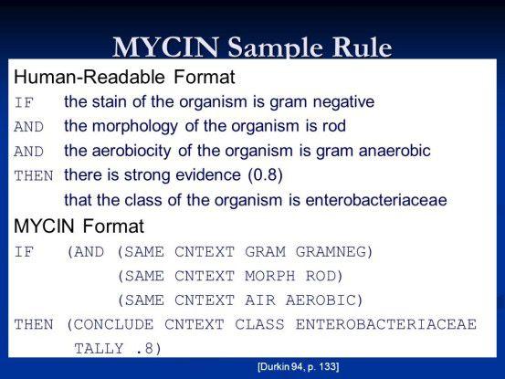 Expertensysteme wie MYCIN konnten mit Hilfe von Regeln und Wissensbasen Diagnose erstellen und Therapien empfehlen.