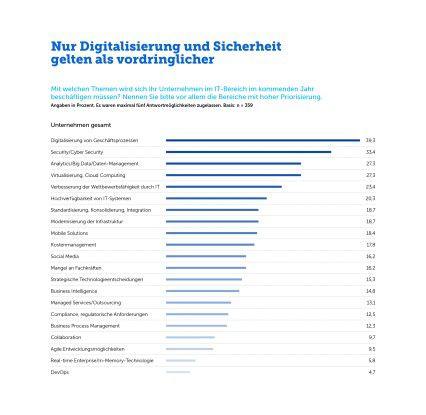 Das sind die IT-Themen, mit denen sich die Unternehmen vorrangig beschäftigen. Auch Analytics steht weit oben auf der Prioritätenliste.