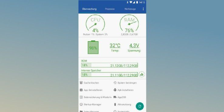 """Der """"Android Assistant"""" überwacht Ihren Androiden und bietet verschiedene Optimierungsmöglichkeiten."""