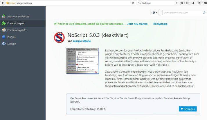 Mozilla Firefox lässt sich mit Add-Ons deutlich erweitern und besser absichern als Google Chrome.