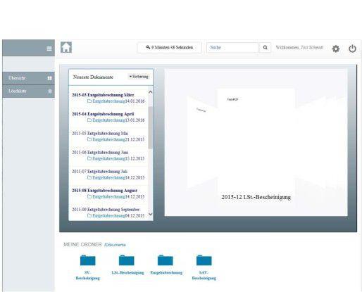 Das transparente Dashboard listet alle Entgeltabrechnungen für Mitarbeitende von Endress+Hauser auf.