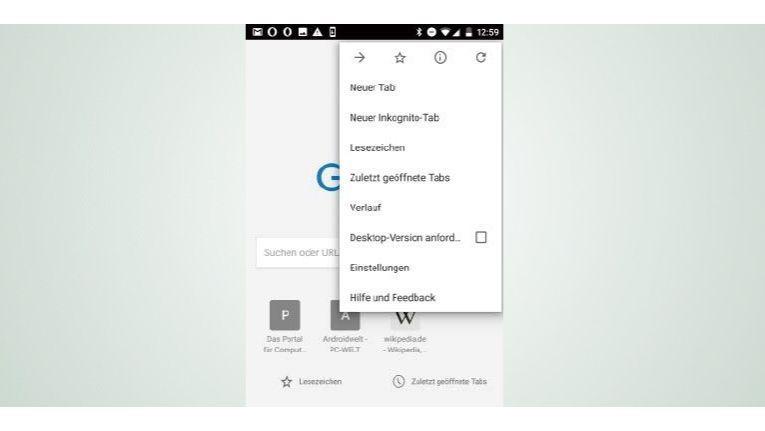 """Öffnen Sie ein neues Browserfenster, indem Sie das App-Menü öffnen und auf den Punkt """"Neuer Tab"""" tippen."""