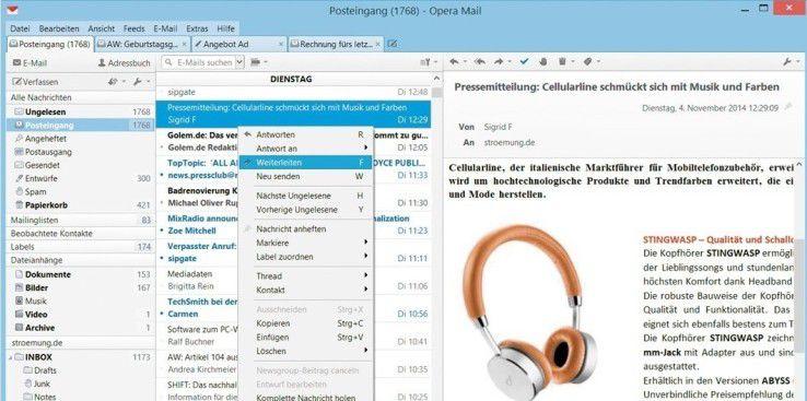 Auf Grund der umfangreichen Nutzungsmöglichkeiten, ist ein übersichtliches Programmfenster des Mail-Programms Gold wert.