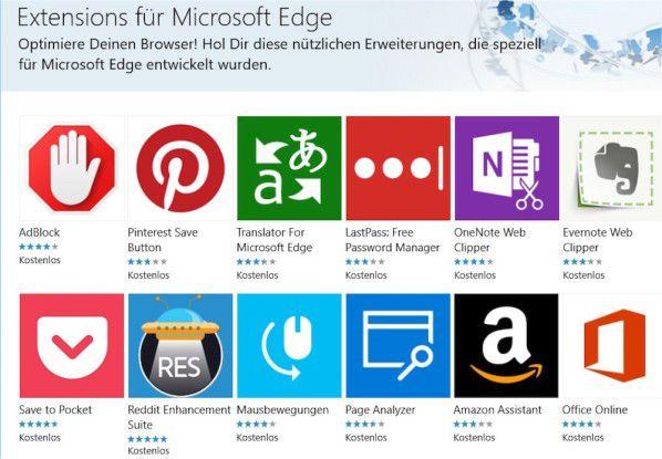 Kaum der Erwähnung wert: Auch Monate nach dem Start des neuen Microsoft-Browsers in Windows 10 stehen kaum Erweiterungen für Edge zur Verfügung.