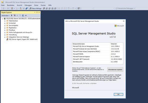 Mit der neuen Version des SQL Server Management Studios lassen sich Datenbank-Server mit SQL Server 2017 verwalten.