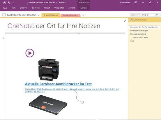 Microsoft Onenote erlaubt genau wie Evernote ein schnelles Drag & Drop von Bildern und Texten einer Website auf einen der digitalen Notizzettel des Programms.