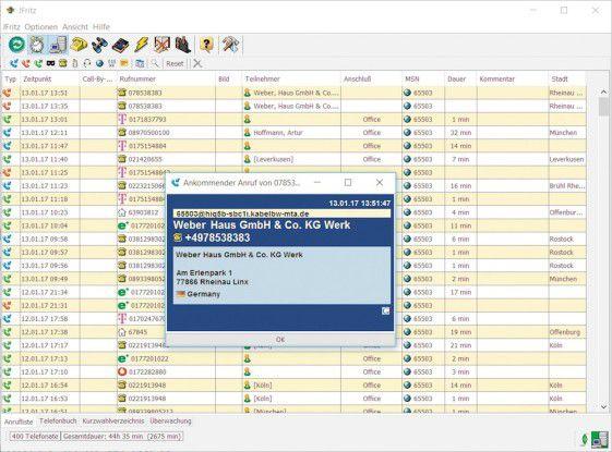 Jfritz: Übertragen Sie mit dem Tool sowohl Anruflisten als auch das Telefonbuch der Fritzbox auf Ihren PC. Außerdem werden Sie über ein-und ausgehende Anrufe mit einem Desktop-Hinweisfenster informiert.