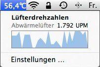 Mit System Monitor hat man die Temperatur der CPU sowie die Lüftergeschwindigkeit immer im Blick.