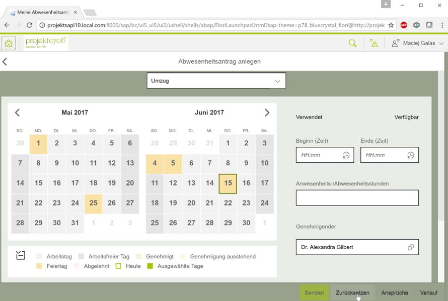 Bild sap fiori app abwesenheitsantrag for Sap jobs gehalt