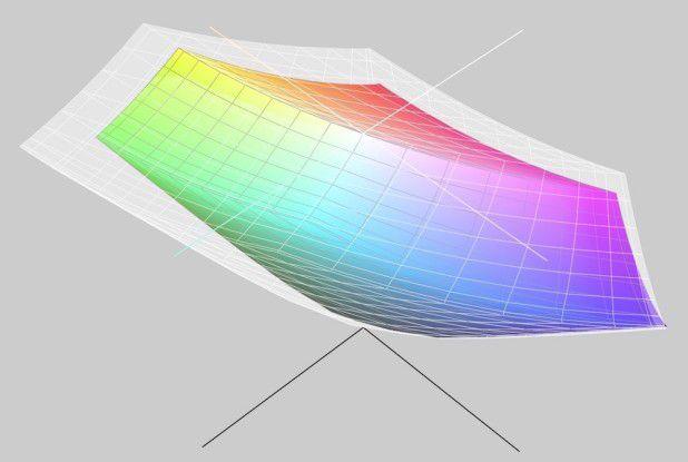 Im Vergleich zum Macbook Pro (transparenter Körper repräsentiert das 2017er 15-Zoll-Modell) liefert das Macbook (farbiger Körper) einen deutlich kleineren Farbraum. Den P3-Standard erreicht das 12-Zoll-Display nicht.