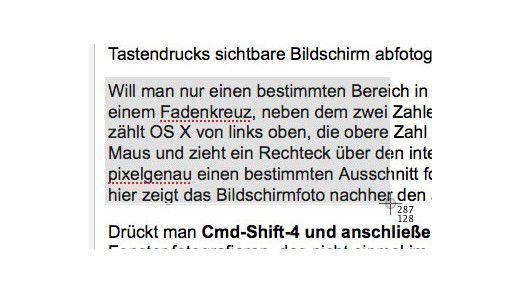 Mithilfe des Shortcuts CMD-Shift-4 zieht man eine Auswahl auf, das Fadenkreuz informiert über die darin enthaltenen Pixel.