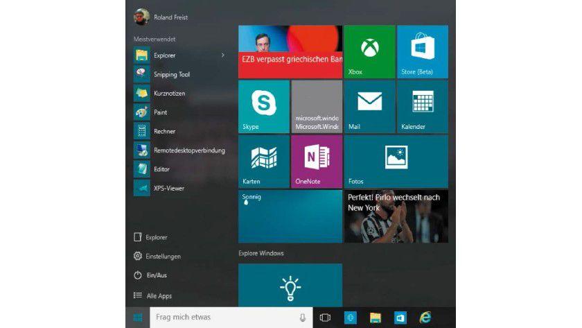 Das neue Startmenü ist eine passable Kombination aus dem alten Menü von Windows 7 und der Kacheloberfläche aus Windows 8.x.