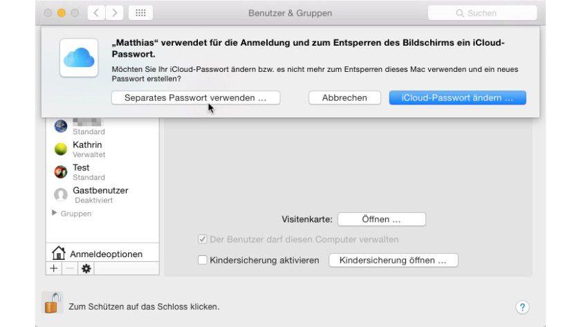Über die Benutzerverwaltung können Sie jederzeit zwischen dem normalen und dem iCloud-Passwort wechseln.