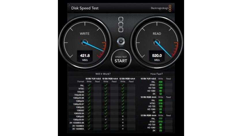 Mit über 500 MB pro Sekunde schafft es die Crucial MX200 den SATA-III-Anschluss in unseren Test-Mac-Mini zu sättigen. Mehr ist in der Praxis kaum noch möglich.