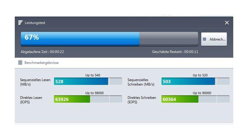 Der integrierte Leistungstest macht die SSD vergleichbar