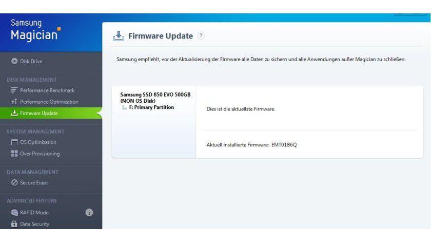 Firmware-Update leicht gemacht: Die Magician-Tools besitzen eine Update-Automatik.