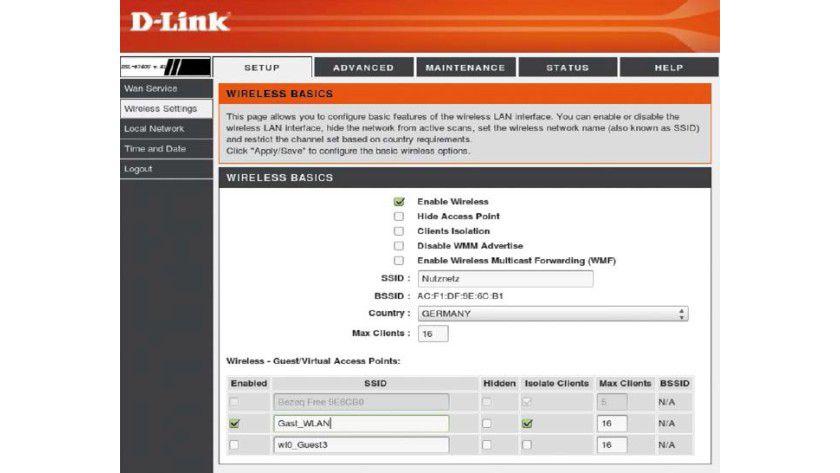 Die meisten halbwegs aktuellen Access Points und WLANRouter, hier ein Billigmodell von D-Link, erlauben ein separates Gäste- WLAN mit eigener SSID.