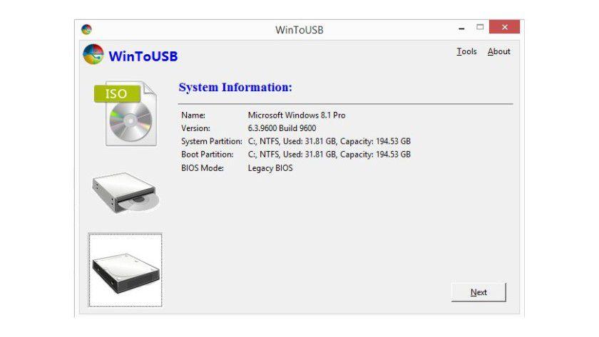 WinToUSB erlaubt es, Windows auf einem USB-Stick zu installieren. Anders als bei den Micro-HDMI-Sticks benötigt man weiterhin einen PC zum Booten.