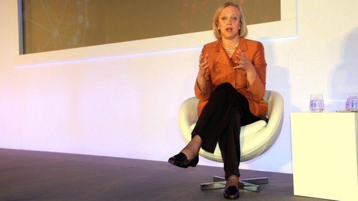 Meg Whitman, CEO von HP Enterprise, stellt solide Quartalszahlen vor. Outsourcing- und Software-Business schwächeln allerdings.
