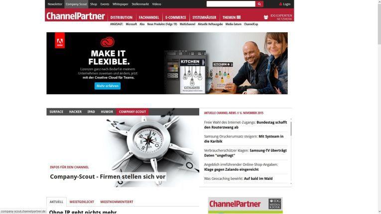 Auf der Homepage von ChannelPartner finden Sie schnell die Company-Scout-Datenbank-