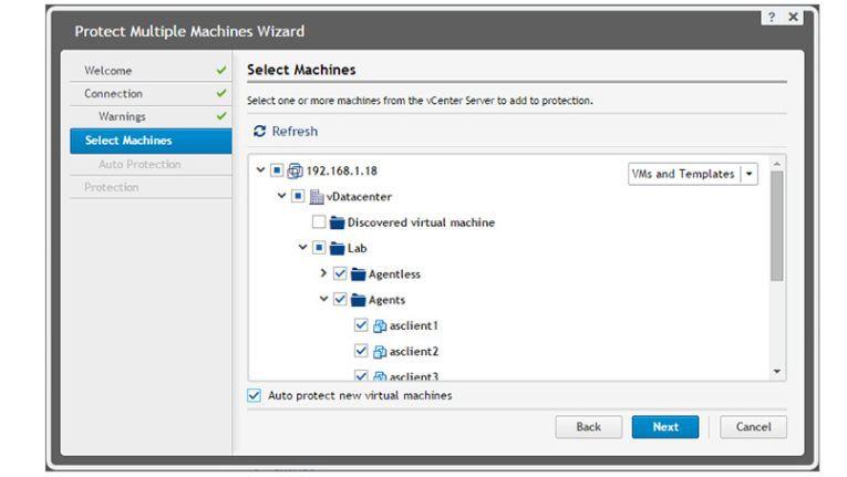Virtuelle Maschinen lassen sich mit Dell Data Protection | Rapid Recovery agentenlos sichern.