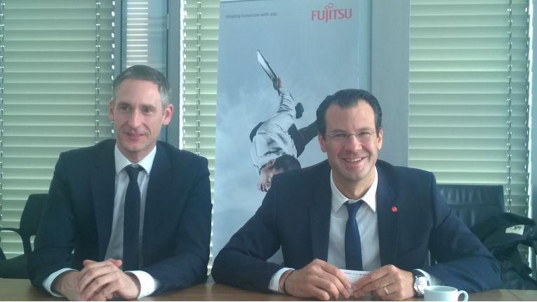 Channel-Chef Louis Dreher und olf Werner, Head of Central Europe bei Fujitsu bei dem gemeinsamen Gespräch mit Journalisten und Analysten.