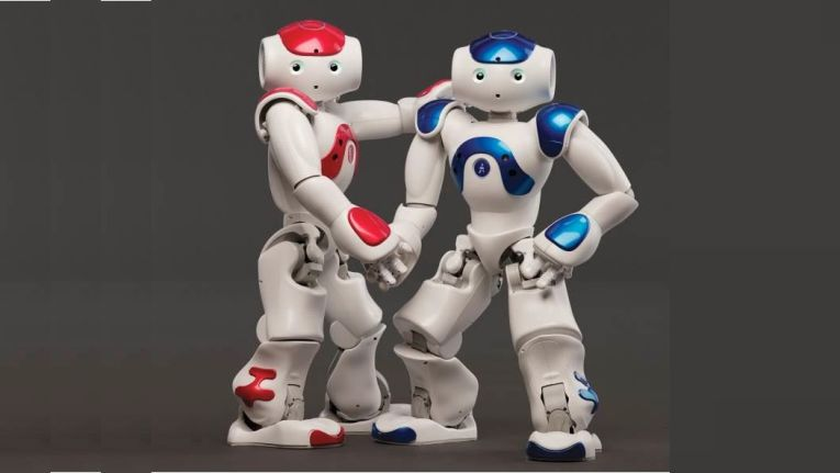 """Interagiert und kommuniziert mit seiner Umwelt: der humanoide Roboter """"NAO"""" dient fu?r schulpädagogische Zwecke und wird von Conrad auf der Maker Faire in Hannover vorgestellt."""