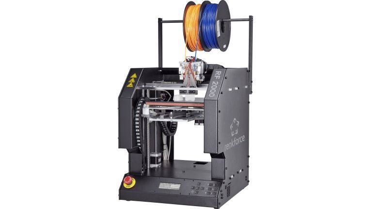 Neuer 3D-Drucker 2.0: Conrad zeigt auf der Maker Faire Hannover seine aktuellen Eigenentwicklungen, u.a. den RF2000 unter der Marke renkforce mit Dual Extruder.